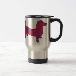Doxie in Reniassance-Pattern Travel Mug