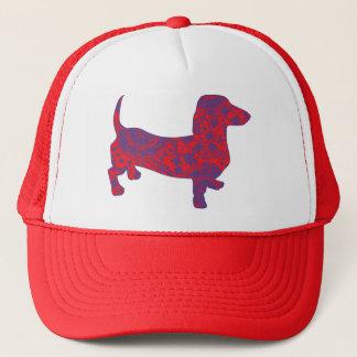 Doxie in Reniassance-Pattern Trucker Hat