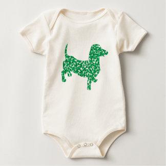 Doxie-in-Shamrocks Baby Bodysuit
