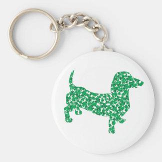 Doxie-in-Shamrocks Basic Round Button Key Ring