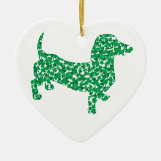 Doxie-in-Shamrocks Ceramic Heart Decoration