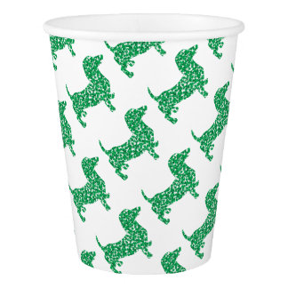 Doxie-in-Shamrocks Paper Cup