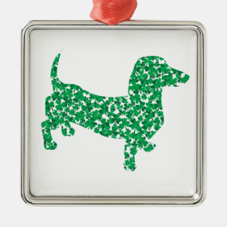 Doxie-in-Shamrocks Silver-Colored Square Decoration