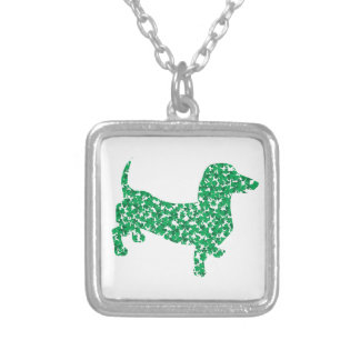 Doxie-in-Shamrocks Silver Plated Necklace