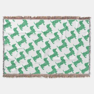 Doxie-in-Shamrocks Throw Blanket