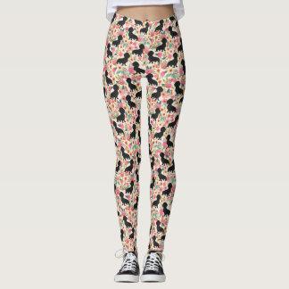 Doxie leggings - black doxies - cream