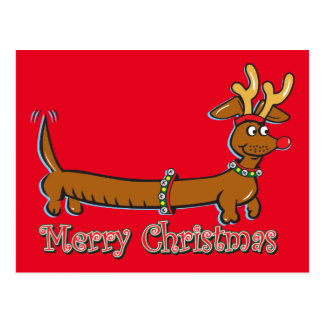 Doxie-Merry-Christmas Postcard