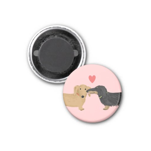 Doxie Smooch with Heart Refrigerator Magnets