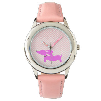 Doxie Time: Pink Flying Ears Dachshund + Chevron Watch