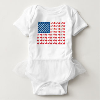 Doxie-USA-FLAG-for-Darks Baby Bodysuit