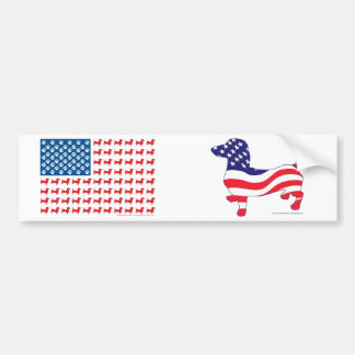 Doxie-USA-FLAG-for-Darks Bumper Sticker