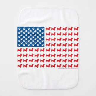 Doxie-USA-FLAG-for-Darks Burp Cloth