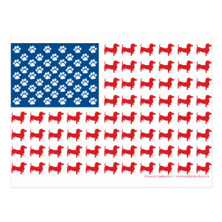 Doxie-USA-FLAG-for-Darks Postcard