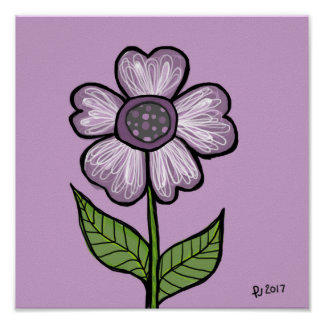 DP110 Abstract Purple Flower Poster