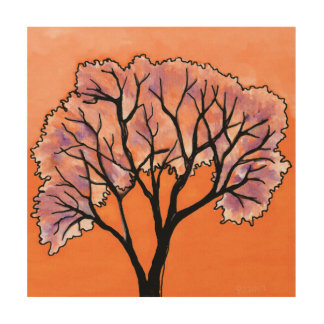 DP183 Orange and Purple Tree Wood Print
