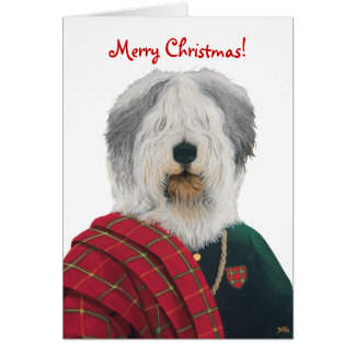 DR223 Old English Sheepdog Christmas card