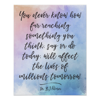 Dr. B.J. Palmer Quote Calligraphy Watercolor Poster