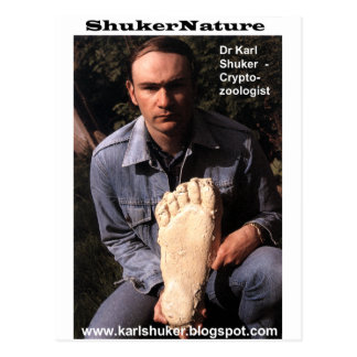 Dr Karl Shuker & bigfoot print cast - ShukerNature Postcard
