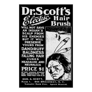 Dr Scotts Electric Hair Brush Vintage Poster