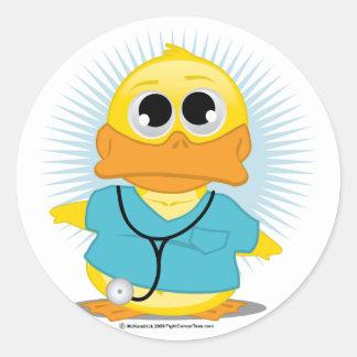 Dr Scrubs Duck Round Sticker