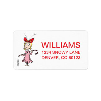 Dr. Seuss | Cindy-Lou Who - Holding Candy Cane Label
