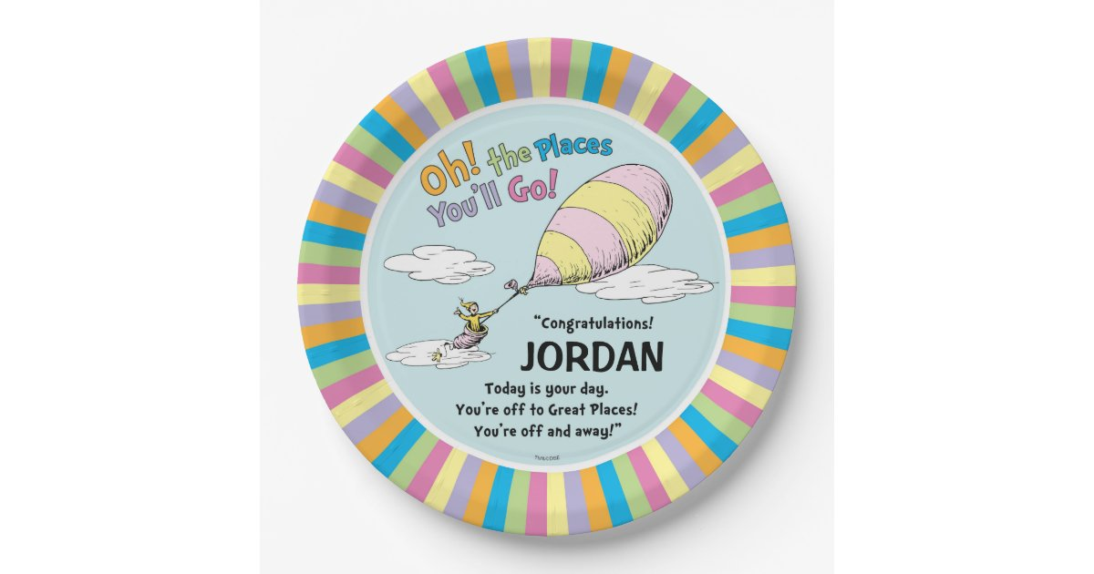 Dr Seuss Oh The Places You Ll Go Paper Plate Zazzle