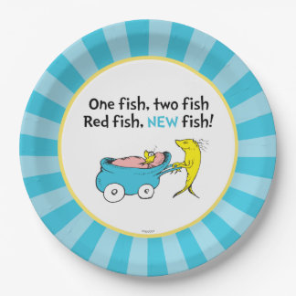 Dr. Seuss | One Fish - Boy Baby Shower 9 Inch Paper Plate