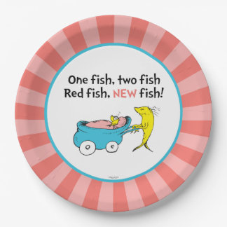 Dr. Seuss | One Fish - Girl Baby Shower 9 Inch Paper Plate