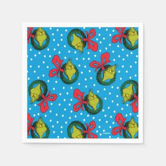 Dr Seuss | The Grinch | Christmas Wreath Pattern Disposable Napkin