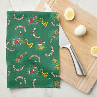 Dr Seuss | The Grinch | Merry Grinchmas Pattern Tea Towel