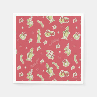 Dr Seuss | The Grinch | Red Christmas Pattern Paper Napkin