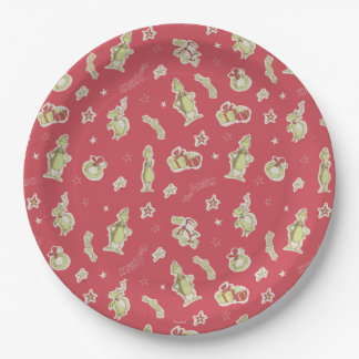 Dr Seuss | The Grinch | Red Christmas Pattern Paper Plate