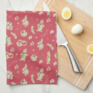 Dr Seuss | The Grinch | Red Christmas Pattern Tea Towel