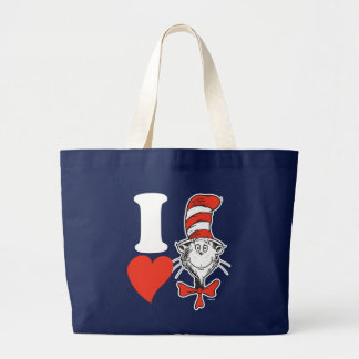 Dr. Seuss Valentine | I Heart the Cat in the Hat Large Tote Bag
