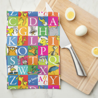 Dr. Seuss's ABC Colorful Block Letter Pattern Tea Towel