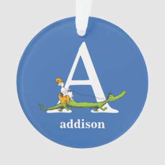 Dr. Seuss's ABC: Letter A - White | Add Your Name Ornament