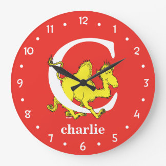 Dr. Seuss's ABC: Letter C - White | Add Your Name Large Clock