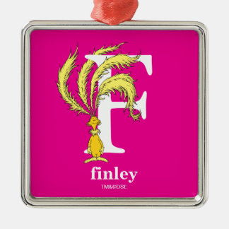 Dr. Seuss's ABC: Letter F - White | Add Your Name Metal Ornament