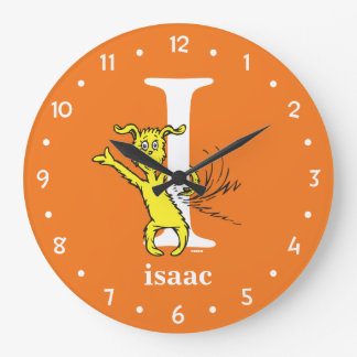 Dr. Seuss's ABC: Letter I - White | Add Your Name Large Clock