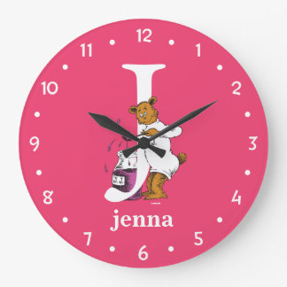 Dr. Seuss's ABC: Letter J - White | Add Your Name Large Clock