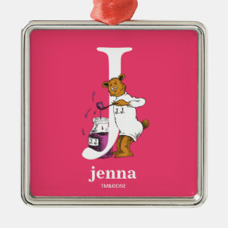 Dr. Seuss's ABC: Letter J - White | Add Your Name Metal Ornament
