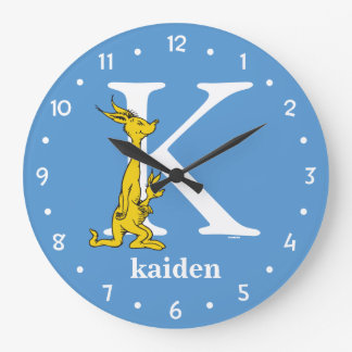 Dr. Seuss's ABC: Letter K - White | Add Your Name Large Clock