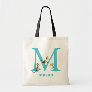 Dr. Seuss's ABC: Letter M - Teal | Add Your Name Tote Bag