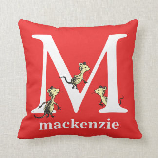 Dr. Seuss's ABC: Letter M - White | Add Your Name Cushion