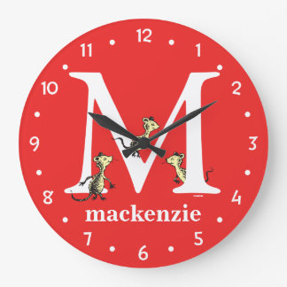 Dr. Seuss's ABC: Letter M - White | Add Your Name Large Clock