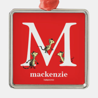 Dr. Seuss's ABC: Letter M - White | Add Your Name Metal Ornament