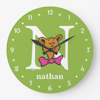 Dr. Seuss's ABC: Letter N - White | Add Your Name Large Clock