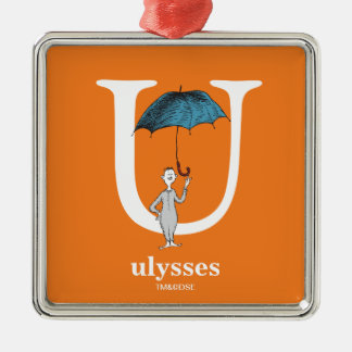 Dr. Seuss's ABC: Letter U - White | Add Your Name Metal Ornament