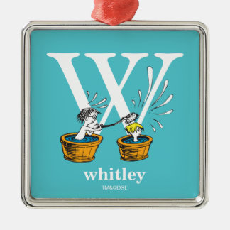 Dr. Seuss's ABC: Letter W - White | Add Your Name Metal Ornament