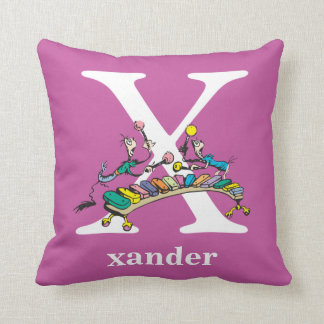 Dr. Seuss's ABC: Letter X - White | Add Your Name Cushion